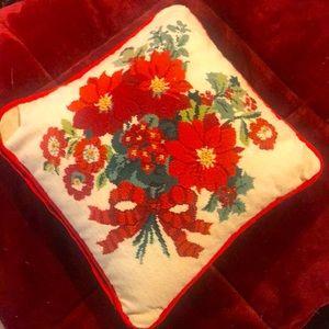 Vintage Needle Point Christmas Pillow